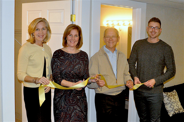 The Historic Palace Theatre dressing room renovation includes all-new flooring, new electric, structural updates and all-new furnishings. Renovations began in March and were completed in September. A ribbon-cutting ceremony took place this past Wednesday with members of the grant committee present. Pictured, from left: Mary Murphy, Anne McCaffrey, David Kinyon and Christopher Parada.