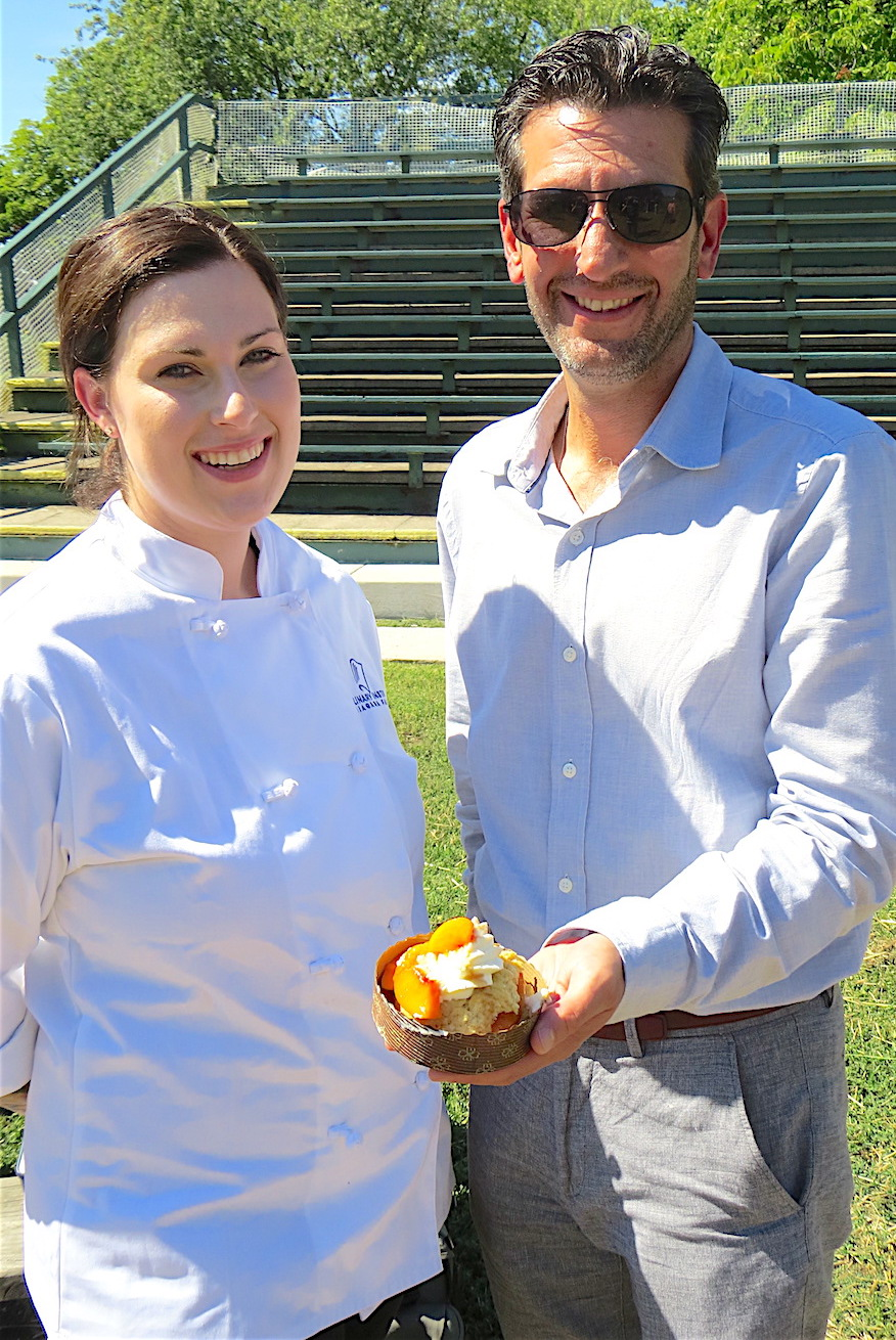 Culinary Institute pastry chef Rachel Jolbert and Mistriner. Jolbert made the peach shortcake treats, which were polenta shortcakes topped with cinnamon-bourbon peaches and fresh cream.