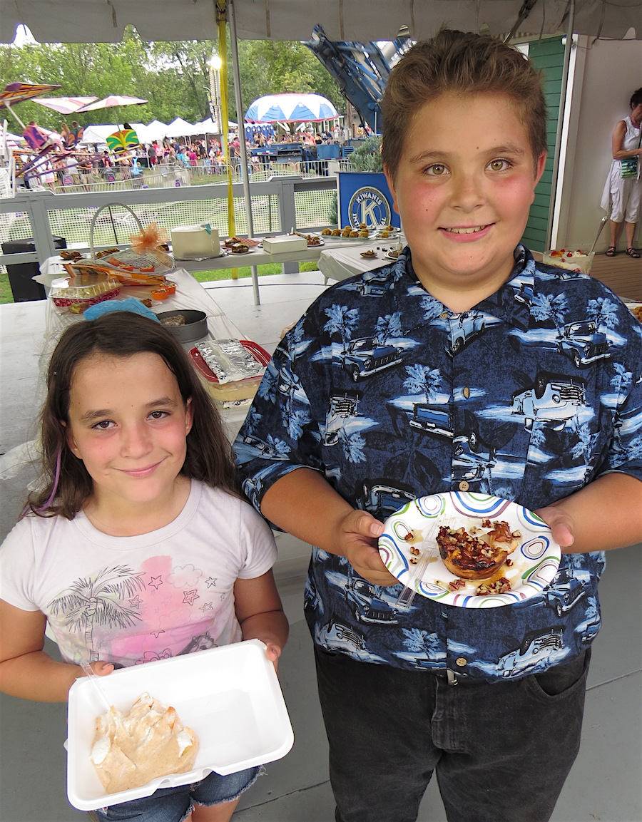 "Two of the younger contestants: cousins Cerulean Van Every with ""Cerulean's Delight,"" and Salvatore Morreale with ""Salvatore's Pecan Mini Peach Pies."""