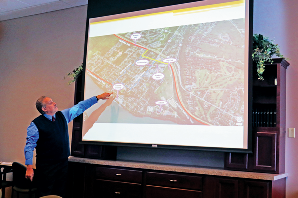 Grant-writer Bernie Rotella explains the Mohawk Trail proposal to members of the Niagara River Greenway Host Communities Standing Committee during a meeting on Tuesday.
