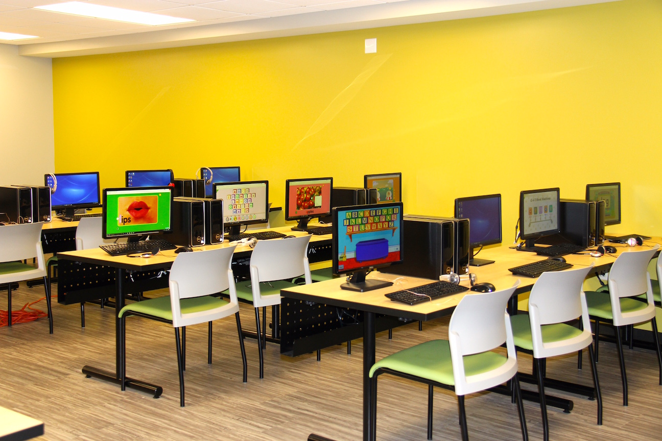 The brand-new, state-of-the-art media center at St. Peter's School.