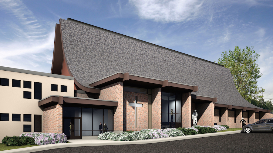 An architect's rendering of a planned St. Peter's side entrance on North Sixth Street.