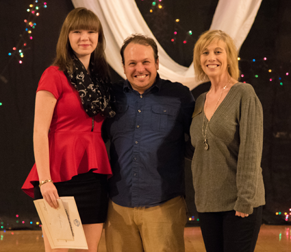 From left: Kayla Reumann, Theatre in the Mist Artistic Director Joey Bucheker and TITM trustee Yvonne Stephenson. (Photo by Christopher Swagler)