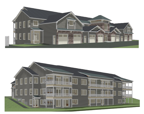 Pictured above are two artistic renderings of the Tuscarora condo building designed by Fittante Architecture. The top drawing fronts on South First Street, while the bottom faces the river.