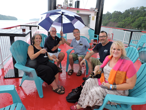 Pictured, from left, are Robin Faulring of the Orange Cat Coffee Co., Jeff Stolar of Gorge Travel, Michael Broderick of the Orange Cat, David Giusiana of Wine on Third and Sandra Lahrache of the It Happened to Alexa Foundation.