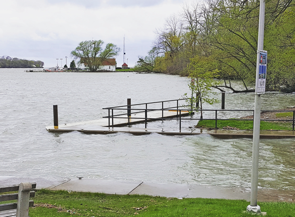 Elevated lake levels batter the Lake Ontario shores at Fort Niagara State Park on Sunday. In the lower river, flooding is now affecting areas from Fort Niagara State Park to the village docks in Lewiston. (Photos by Glenn Clark and Terry Duffy)