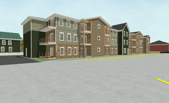 Pictured is a rendering of the south side of a proposed three-story apartment complex facing Onondaga Street. (Image courtesy of Giusiana Architects & Engineer)