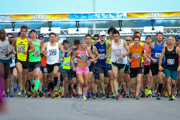 Runners, including overall winner Kip Mutai Tisia, far left, at the start of The Mighty Niagara Half Marathon.