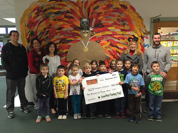 Lew-Port Principal Tamara Larson and students from Kristen Maggi's first-grade class present Maureen Rizzo from Niagara Hospice a donation for $927 from the Lew-Port Turkey Trot. Pictured back row, from left: David Vanoni, Cindy Sanoian, Rizzo, Larson and Justin Hays.