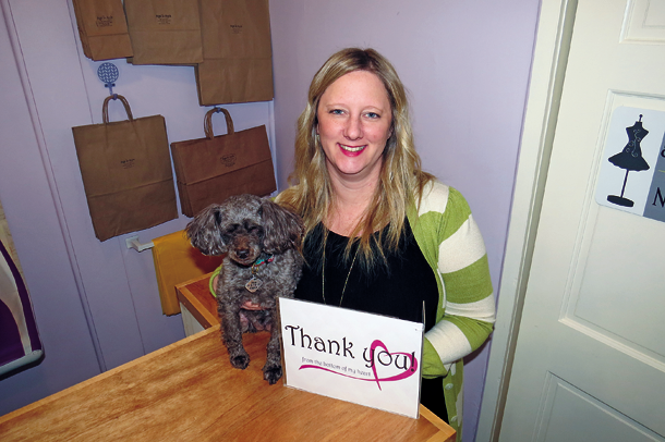 Jamie Symmonds and her top coworker, Willow, extend thanks to their customers. Angel to Apple is closing April 22.