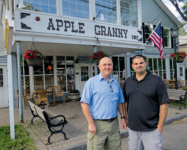 Michael J. Burke, left, and Chuck Barber stand in front of Apple Granny Restaurant in Lewiston.