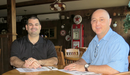 Chuck Barber, left, and Michael J. Burke are the proud new owners of Apple Granny Restaurant in Lewiston.