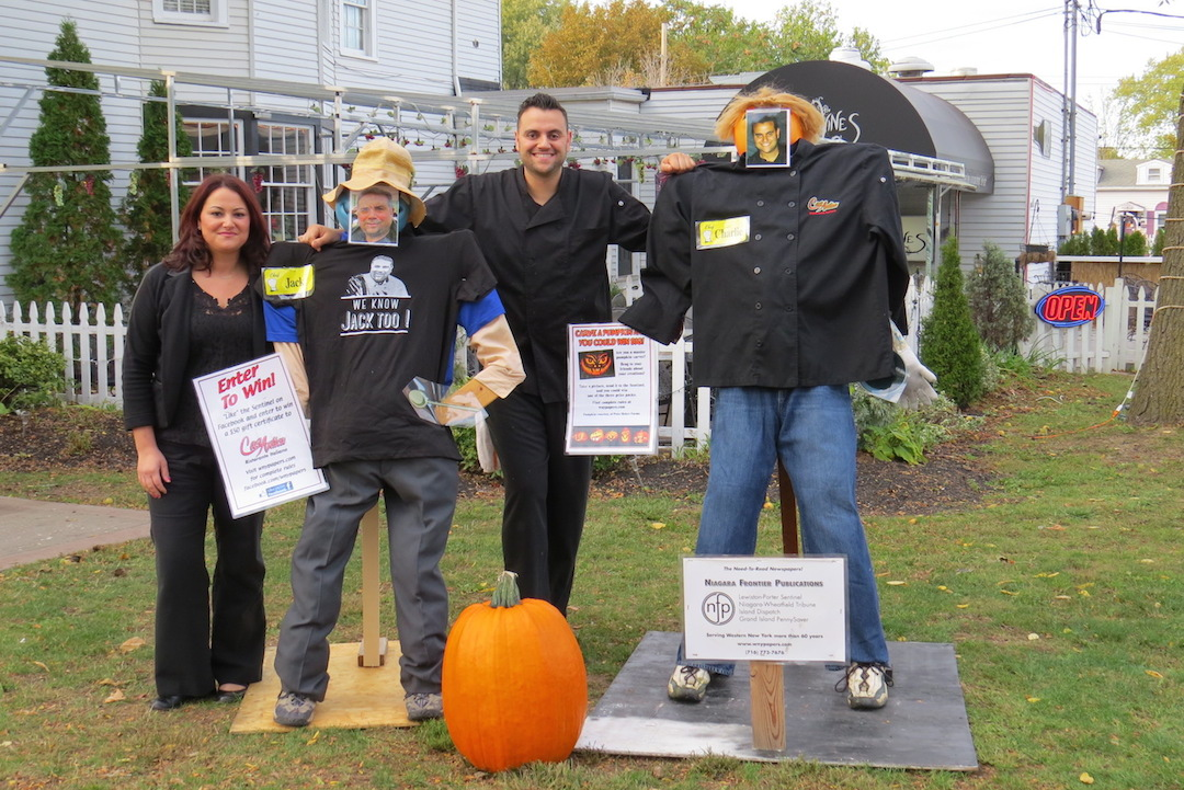 Pictured outside Casa Antica are owners Angela Soldano-Bellanca and Calogero (Charlie) Soldano next to scarecrows depicting their father, Jack, and Charlie.
