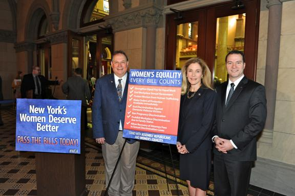 Assemblyman John Ceretto (left), Assemblywoman Jane Corwin and State Sen. Robert Ortt stand together to call for Assembly Speaker Sheldon Silver to bring the first eight planks of the Women's Equality Act for a vote as individual bills.