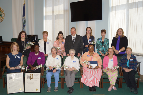 Pictured, standing from left, are Mary Anne Hess, Laura Lee Morgan, Anne Marie Moraca-Sawicki, Assemblyman John Ceretto, Dr. Tammie Lee Demler, Phyllis Corey and Dr. Stacey Watt. Sitting, from left: Linda D'Anna, Dr. Veronica Mason, Donna Heath, Ruth Kumm, Yvonne L. Davis, Diane Lipp and Marianne Gittermann.