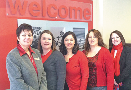Pictured are Sanborn KeyBank Branch Manager Lise Michael, Keisha Houser, Andrea Haseley, Bridgett Luzak and Christine Daugherty (financial adviser). Not pictured: Jennifer Haseley.