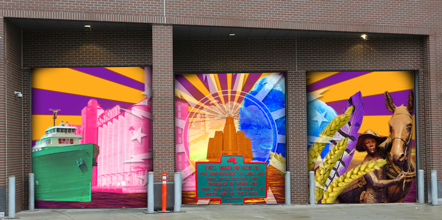 The winning design will be displayed on HARBORCENTER's north end loading dock doors beginning this spring.