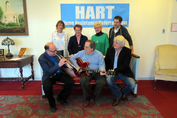 Pictured, from left, rehearsing for the HART fundraiser, are Brandy Scrufari, Tom Pieroni and Gouv Cadwalader. Listening in, top row, from left, are Tracy Gillick, Irene Elia, Patricia Berggren and Tony Petrocelli.