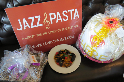 "A ""Jazz & Pasta"" dish and basket items."