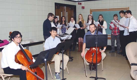 Members of the Lewiston-Porter Music Department perform sounds of the season prior to the December Board of Education Meeting.
