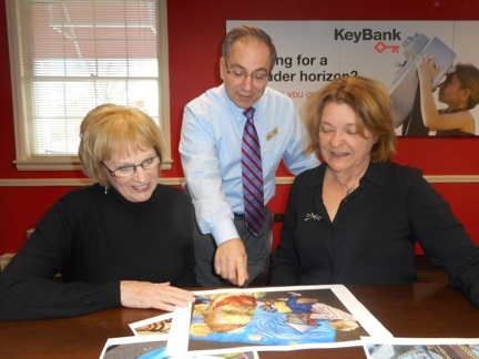 Pictured, from left: Chalk Walk Co-Chair Fay Northrop, KeyBank Lewiston Branch Manager Robert Fagiani and Chalk Walk Co-Chair Kathryn Serianni.