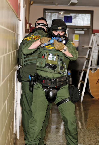 U.S. Border Patrol agents and Lewiston Police Department officers participated in real-life shooter response exercises this week at a Tonawanda training facility. Scenarios included active searches, encountering suspects, response and takedown. (Photos by K&D Action Photo and Aerial Imaging, and Terry Duffy)