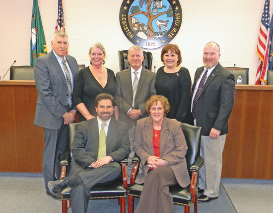 The Lewiston Town Board met prior to Monday's session with Lewiston Council on the Arts representatives and heard on LCA's list of activities planned for 2015. Pictured, Supervisor Dennis Brochey and board members are shown with LCA's Eva Nicklas and Irene Rykaszewski. (Photo by Terry Duffy)