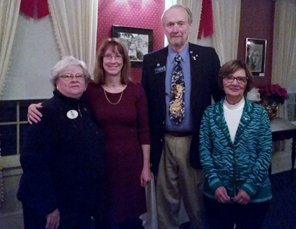 In the photo, from left, are Lions International District Gov. Nancy Luckman, Eileen Cordani, sponsor Ron Craft and Marlene Merrell.