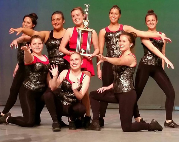 The Lewiston Dance Center advanced hip-hop group with the overall high-score trophy.