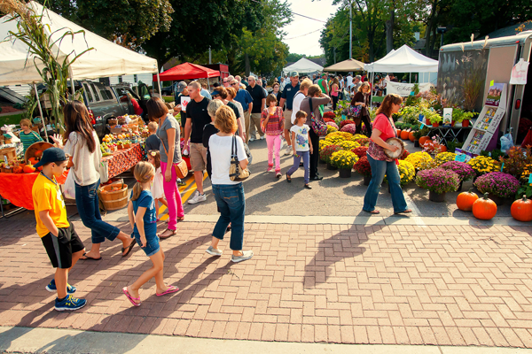 Pictured is a past Lewiston Harvest Festival farmers market. The event returns next weekend. (Photo by Wayne Peters)