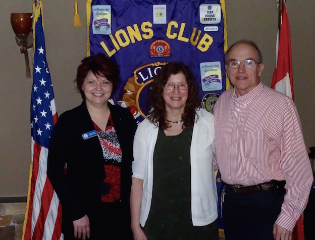 Pictured, from left: Lewiston Lions Club President Regina Cecconi with Mary and Bob Owens.