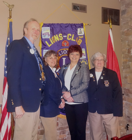 Pictured, from left: Lions Club Zone Chairman Ron Craft, Region Chairwoman Diane Muscoreil, Lewiston Lions President Regina Cecconi and 20N District Gov. Nancy Luckman.