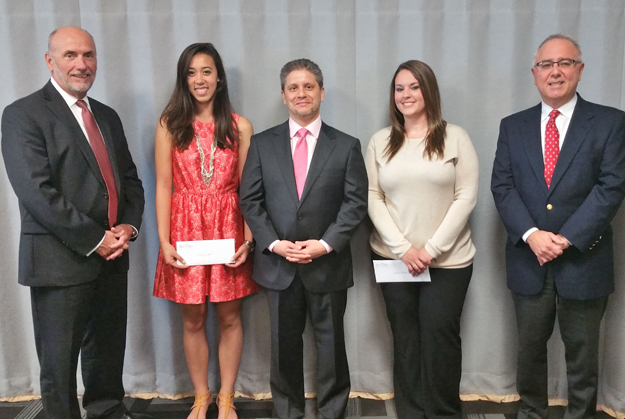 The medical staff of Mount St. Mary's Hospital recently presented $1,000 scholarships to four individuals seeking advanced education in the medical field. Pictured, from left, are Gary Tucker, FACHE, president and CEO of Mount St. Mary's; Audrey Wagner of Wilson Central High School; Dr. Thomas Cumbo; Lindsey Bradigan and Dr. Frank R. Laurri.