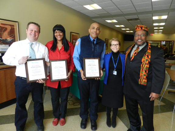 Mount St. Mary's held its annual Black History Month celebration Thursday. Pictured, from left: Special Recognition Award recipients Michael Myhalenko, director of nutrition services, who accepted on behalf of his department; Sharlene Richards, environmental services aid; Melvin McNeese III, security/valet services; hospital President and CEO Judith Maness; and event guest speaker Kenneth Hamilton.