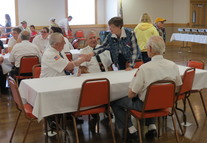 Residents dined with Veterans of Foreign Wars members following the 2013 Memorial Day ceremony in the Village of Lewiston. This year's luncheon will take place inside the Lewiston No. 1 Volunteer Fire Co. firehall.