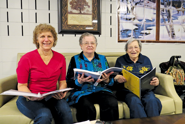 Pictured, from left, with some of their school supplies, are Mount View Assisted Living residents Sandra Leaming, Margaret `Marge` Reinard and Cecile Tegler.