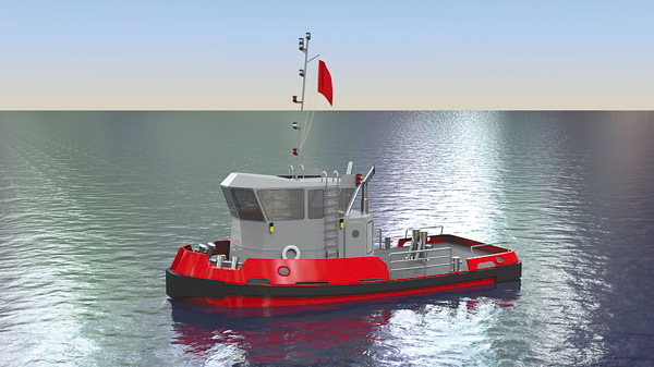 A computer rendering shows one of two tugboats recently ordered by the New York Power Authority to replace two aging vessels - the Daniel Joncaire and the Breaker - that support the winter operations of NYPA's Niagara Hydroelectric Power Plant and the Sir Adam Beck Pumped Generating Station, owned by Ontario Power Generation. (NYPA illustration)