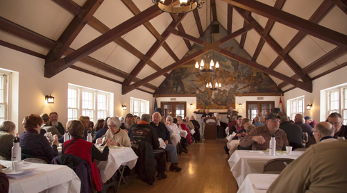 More than 100 volunteers attended the fort's recognition breakfast at the Fort Niagara Officers Club on Saturday, March 5. (Photo by Lee Gugino)