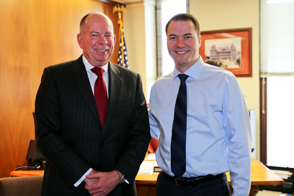 State Sen. Rob Ortt (right) meets with Acting Commissioner of Homeland Security and Emergency Services John Melville.