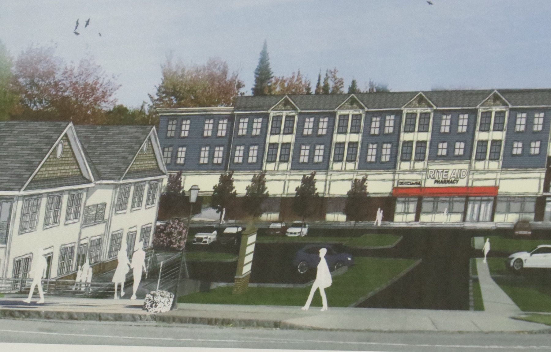 An artist's rendering of Ellicott Development's Lewiston plaza proposal. Click for a larger image.