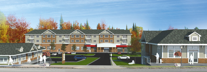 Pictured is an artist's rendering of Ellicott Development's Village of Lewiston plaza proposal.