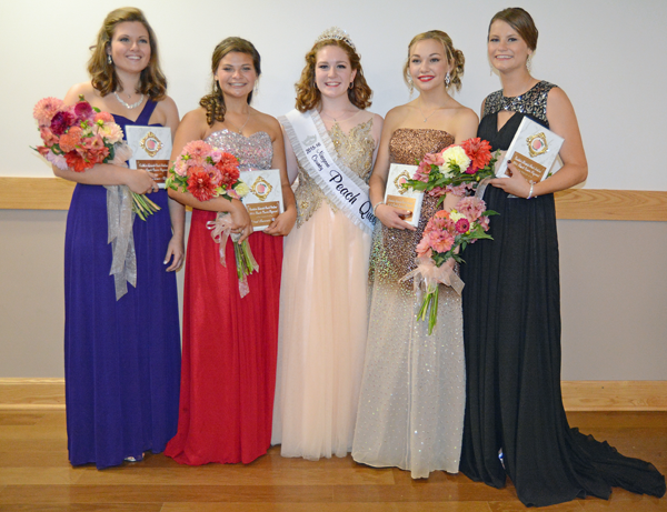 The Peach Queen court. Pictured, from left:  Emily Buzzard, Justina Conti, Lindsey Clark, Andrea Donovan and Sarah Andres. (Photo by K&D Action Photo & Aeriel Imaging)