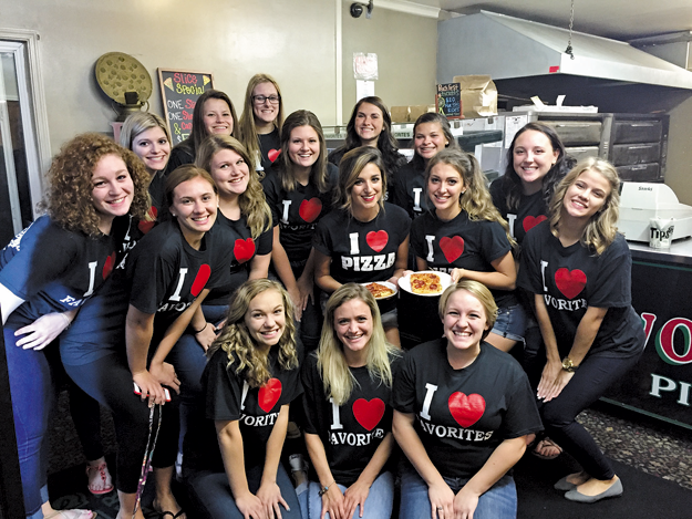 Peach Queen contestants at Favorites Pizza.