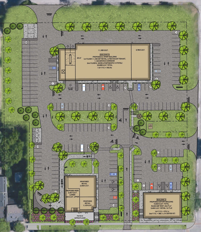 Pictured is the most recent proposed plaza plan for Center, Onondaga and North Eighth streets.