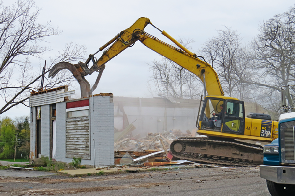 Demolition began this week at properties at 756, 784-790 Center St.