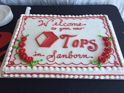 Tops Sanborn produce section and celebration cake.