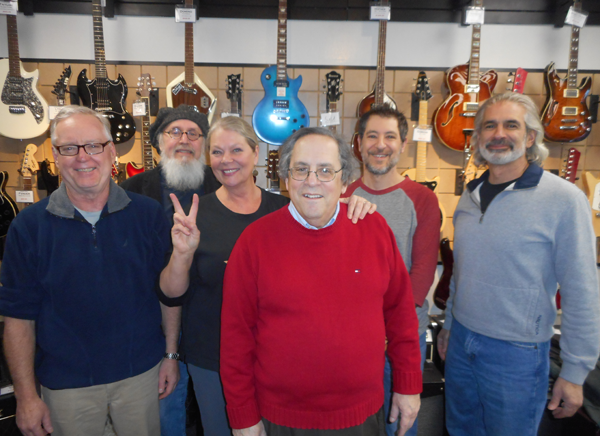 Pictured, from left, are Chuck Scrufari (Lewiston All Stars), Tim Henderson (Instruments for Peace), Eva Nicklas (Lewiston Council on the Arts), Tom Pieroni (Lewiston All Stars), Tony Petrocelli (Lewiston Music) and `Twist and Shout` host Emery Simon (Lewiston Stone House).