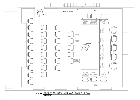 Shown is a drawing depicting the new look of the new Village of Lewiston boardroom inside the Red Brick Municipal Building. (Contributed image)