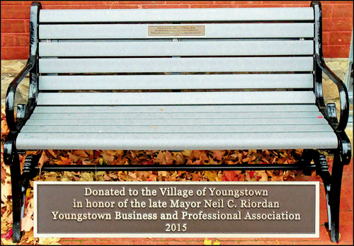 The park bench recently dedicated by YBPA in memory of late Youngstown Mayor Neil C. Riordan.