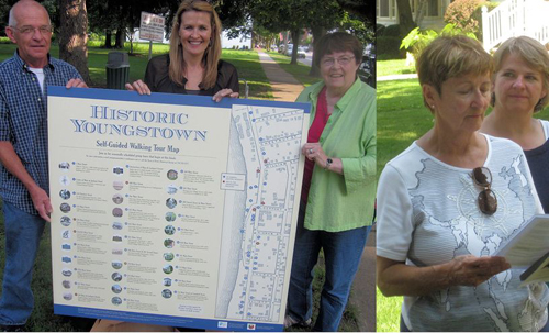 Members of the Youngstown Heritage Tours and Tourism Committee, shown with the graphic map found on a panel of the village kiosk in Falkner Park. Pictured, from left, Village Mayor Raleigh Reynolds, designer Pauline Goulah, and Gretchen Duling, committee chair/ local historian. Missing from photo, Dotty Riordan, president of the Town of Porter Historical Society and Peggy Hanson, Niagara Falls National Heritage Area Youngstown appointed representative. At right, Karen Noonan, tours coordinator/local historian and Tina Oddy, technology support/professional educator.